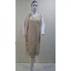 Embroidered dress - Arabian lawn - Large Size - Peach