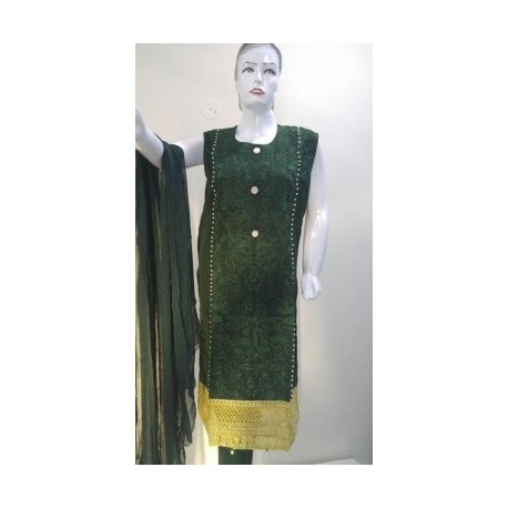 Embroidered dress - Arabian lawn - Large Size - Green