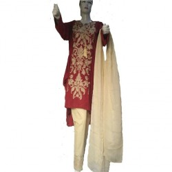 Maroon Linen Embroidered Dress For Women