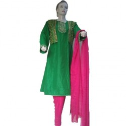 Green and Pink Linen Embroidered Frock with Koti For Women