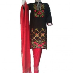 Black and Red Stone Linen Embroidered Dress For Women