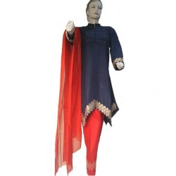 Blue and Red Arabian Linen Embroidered Dress For Women