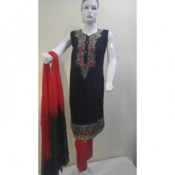 Embroidered dress - Arabian lawn - Medium Size - Black and Red